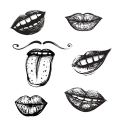Smile and Mouth Drawing Collection vector