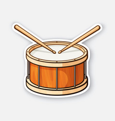 sticker classic wooden drum with drumsticks vector image