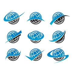 Swoosh Globe World Logo Icons vector