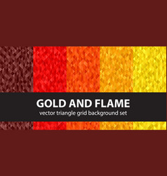 Triangle pattern set gold and flame seamless vector