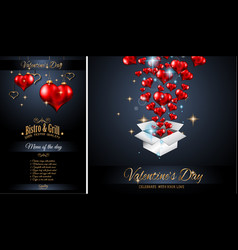 valentines day restaurant menu template vector image