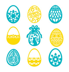 vintage paper cut easter egg filigree set vector image