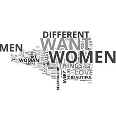 What do women want from men text word cloud vector