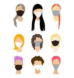 woman face collection without eyes with a medical vector image