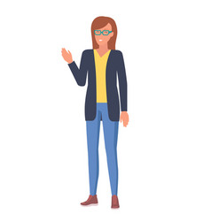 Woman in glasses with raised hand vector