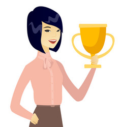 Young asian business woman holding a trophy vector