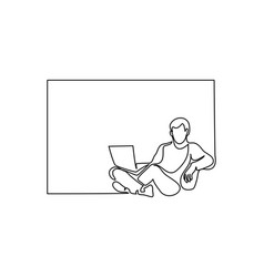 young man relaxing in chair sitting with laptop vector image
