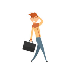 young smiling man walking with suitcase cartoon vector image