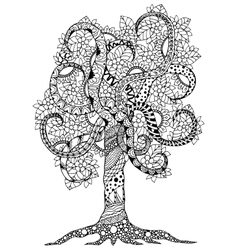 Zen Tangle flower tree with vector