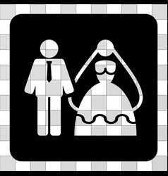 Bride and groom rounded square vector