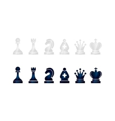 Glossy black and white chess icons on white vector image