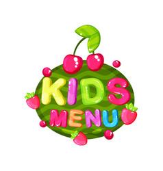 kids menu logo template design element for cafe vector image