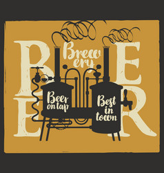 label for beer on tap with brewery and inscription vector image vector image
