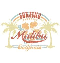 Malibu surfing paradise vector image vector image