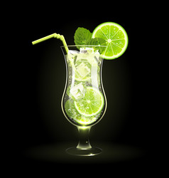 mojito cocktail with lime and mint leaves vector image