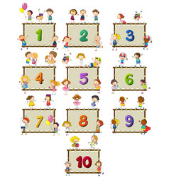 number one to ten with children in background vector image