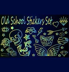 old school stickers set vector image