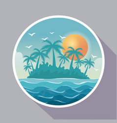 colorful poster with circular frame of island vector image