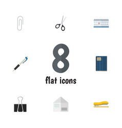 flat icon stationery set of paper clip fastener vector image