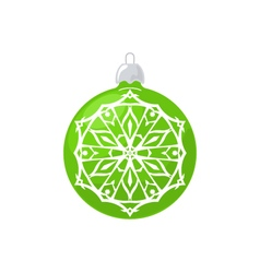 Green Ball with Snowflake Isolated on White vector image