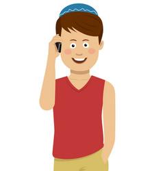 Jewish boy wearing blue bale talking on the phone vector