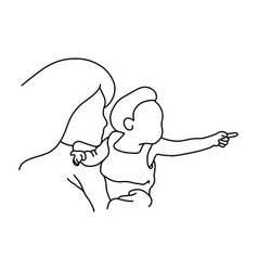 mother and baby pointing to the right vector image