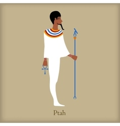Ptah God of creation icon flat style vector image