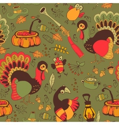 Seamless with turkey for Thanksgiving vector image
