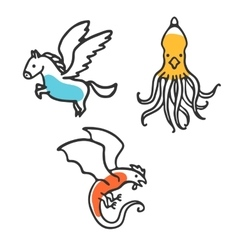Set of cute little cartoon mythical beasts vector image vector image