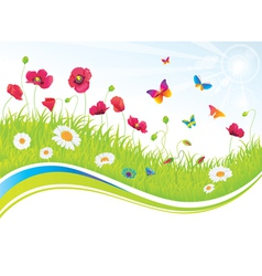 The Green Meadow with Flowers and Butterflies vector image