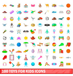 100 toys for kids icons set cartoon style vector image
