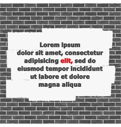 Brick Wall with Place for Text vector image vector image