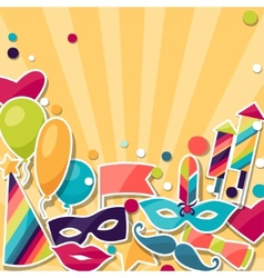 Celebration background with carnival stickers and vector image vector image