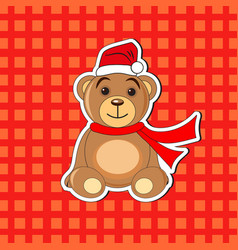 christmas bear in a cap of santa claus vector image