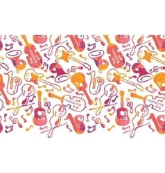Colorful musical instruments horizontal seamless vector image