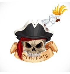 Emblem for pirate party with a skull wearing a hat vector image vector image