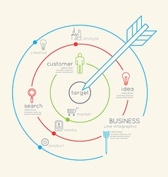 Flat linear Infographic Business Target outline vector image vector image