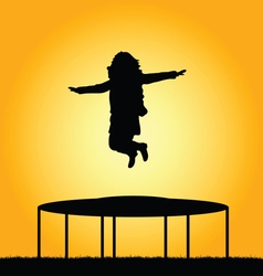 girl jump in nature vector image vector image