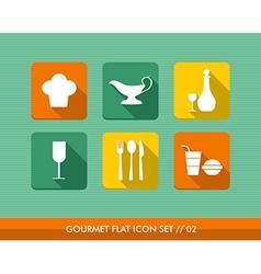 Gourmet flat icons set vector image