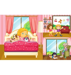 Kids doing different activities at home vector
