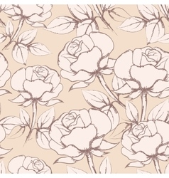 Rose Flowers Seamless Pattern in vintage style vector image