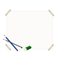 Sharpened pencils and eraser on blank paper vector