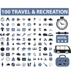 100 travel recreation signs vector image