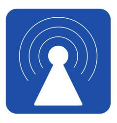 blue white information sign - transmitter tower vector image