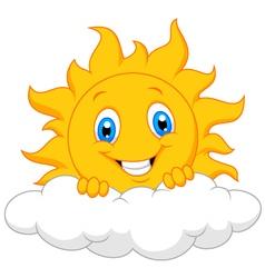 Happy sun behind the cloud vector image