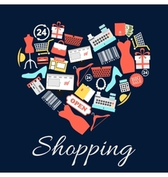 I love shopping emblem in shape of heart vector image vector image