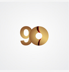 90 years anniversary celebration gold template vector