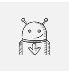 Android with arrow down sketch icon vector