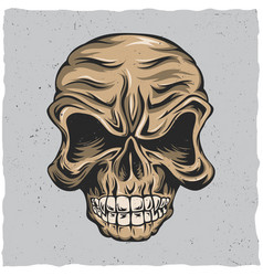 Angry skull poster vector