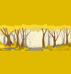 Autumn forest with road backround vector